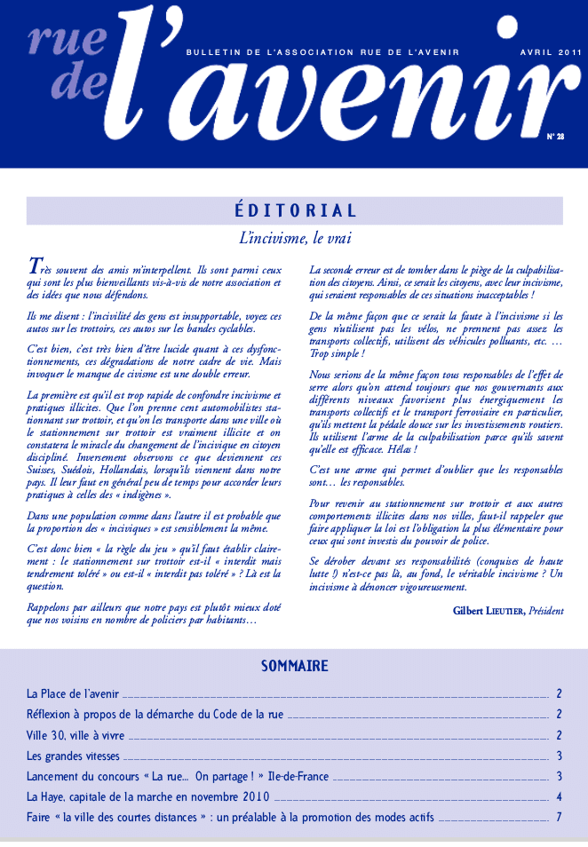 Bulletin #28 Avril 2011