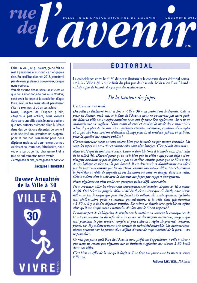 Bulletin #30 Décembre 2012