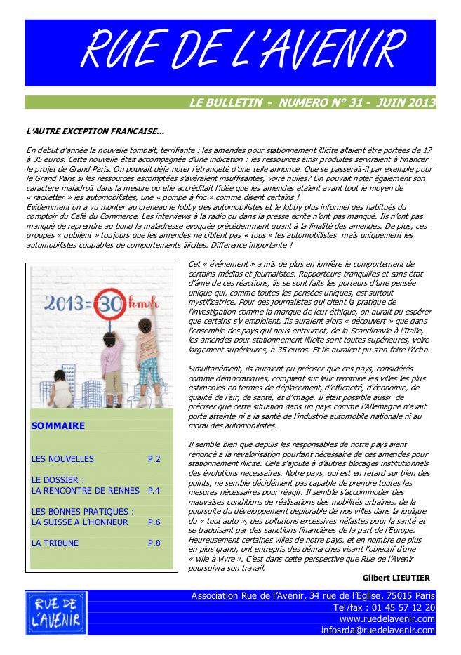 Bulletin #31 Juin 2013