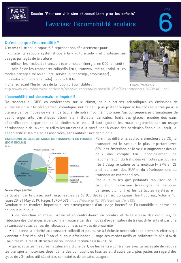 Fiche 6 : L'écomobilité scolaire