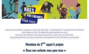 Les résultats du 3e Appel à Projets pour des Rues aux enfants