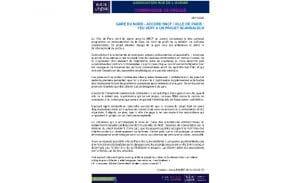 Communiqué Projet Gare du Nord à Paris – Nov 2020